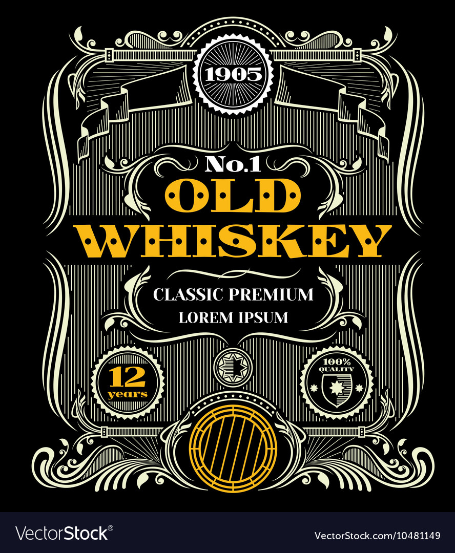 Retro victorian whiskey label vector