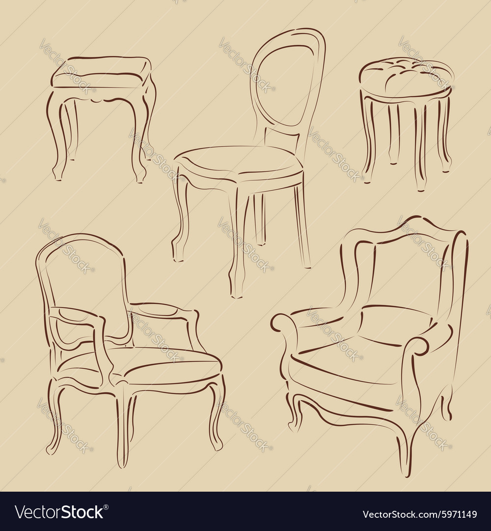 Set of sketched armchairs and chairs vector