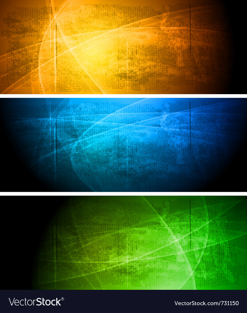 Bright textural grunge banners collection vector