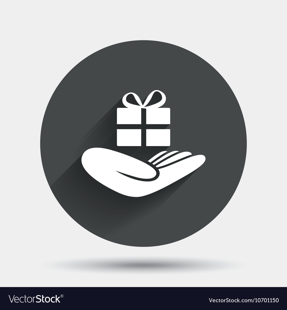 Give a gift sign hand holds present box vector