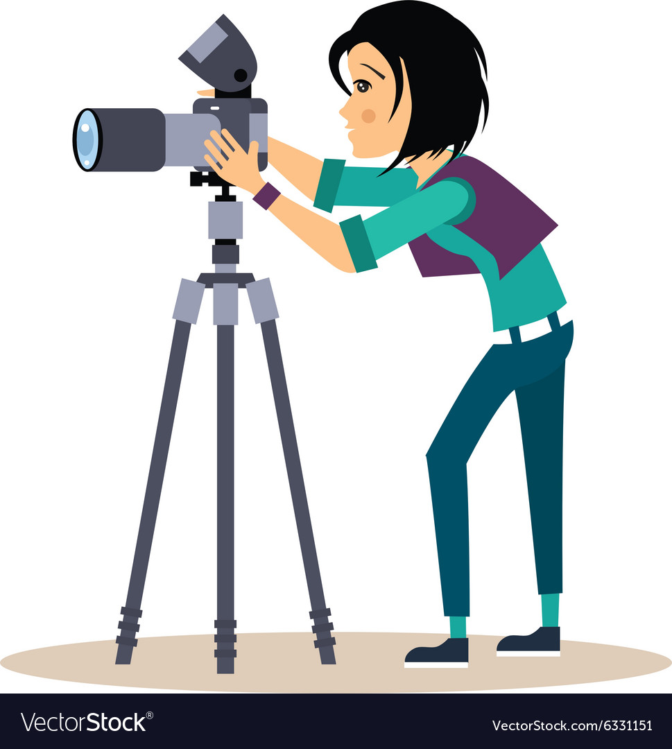 Girl photographer with tripod in flat style vector