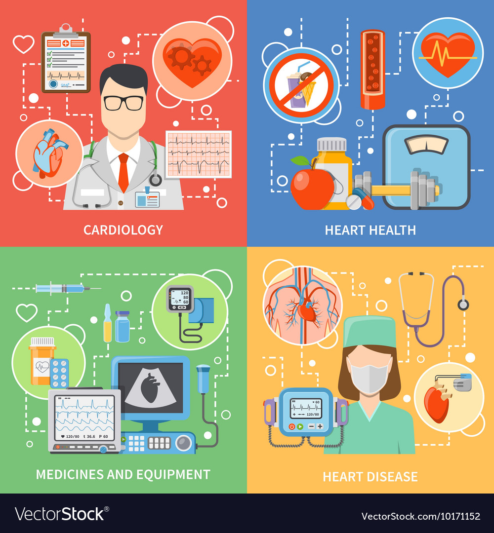 Cardiology flat 2x2 icons set vector