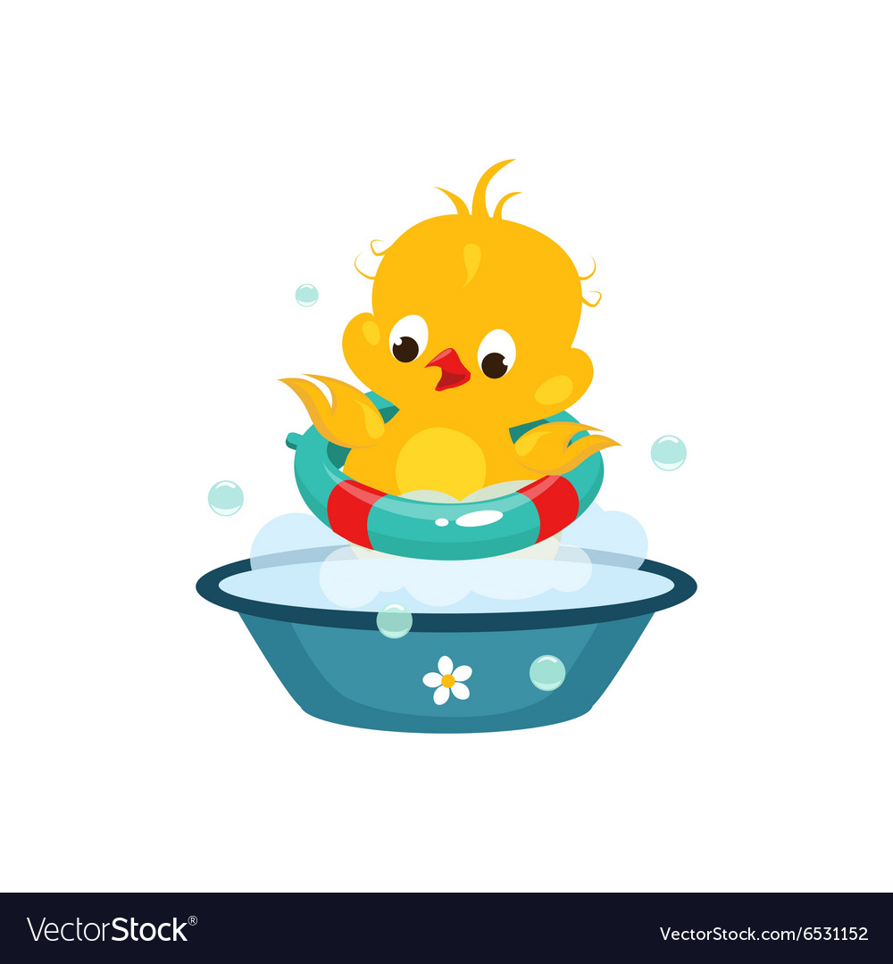 Cute duckling in bathroom vector