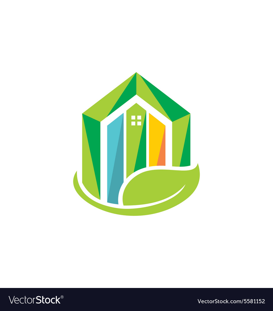 Eco house realty building environment logo vector