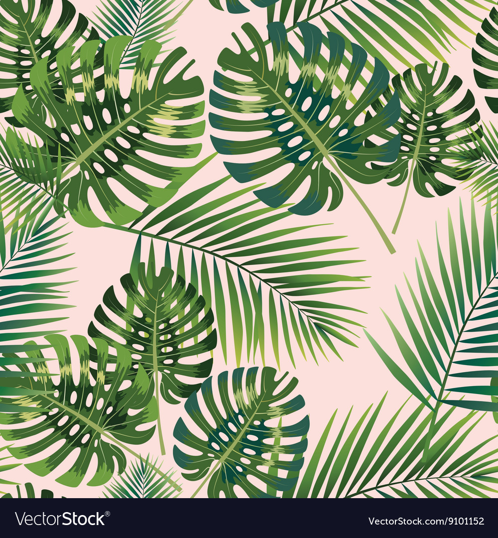 Palm tropical leaves seamless pattern vector
