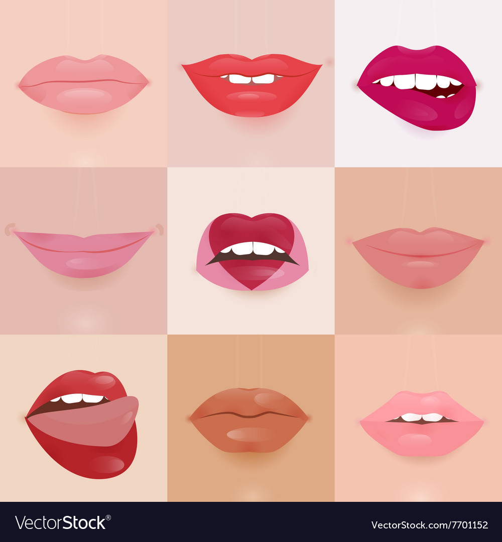 Set of glamour lips with different lipstick colors vector