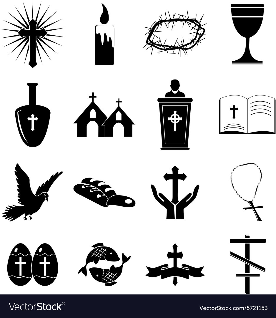 Christianity icons set vector