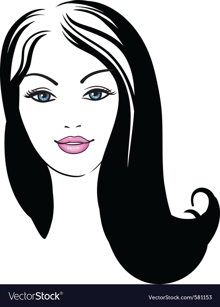 Girl face fashion icon vector