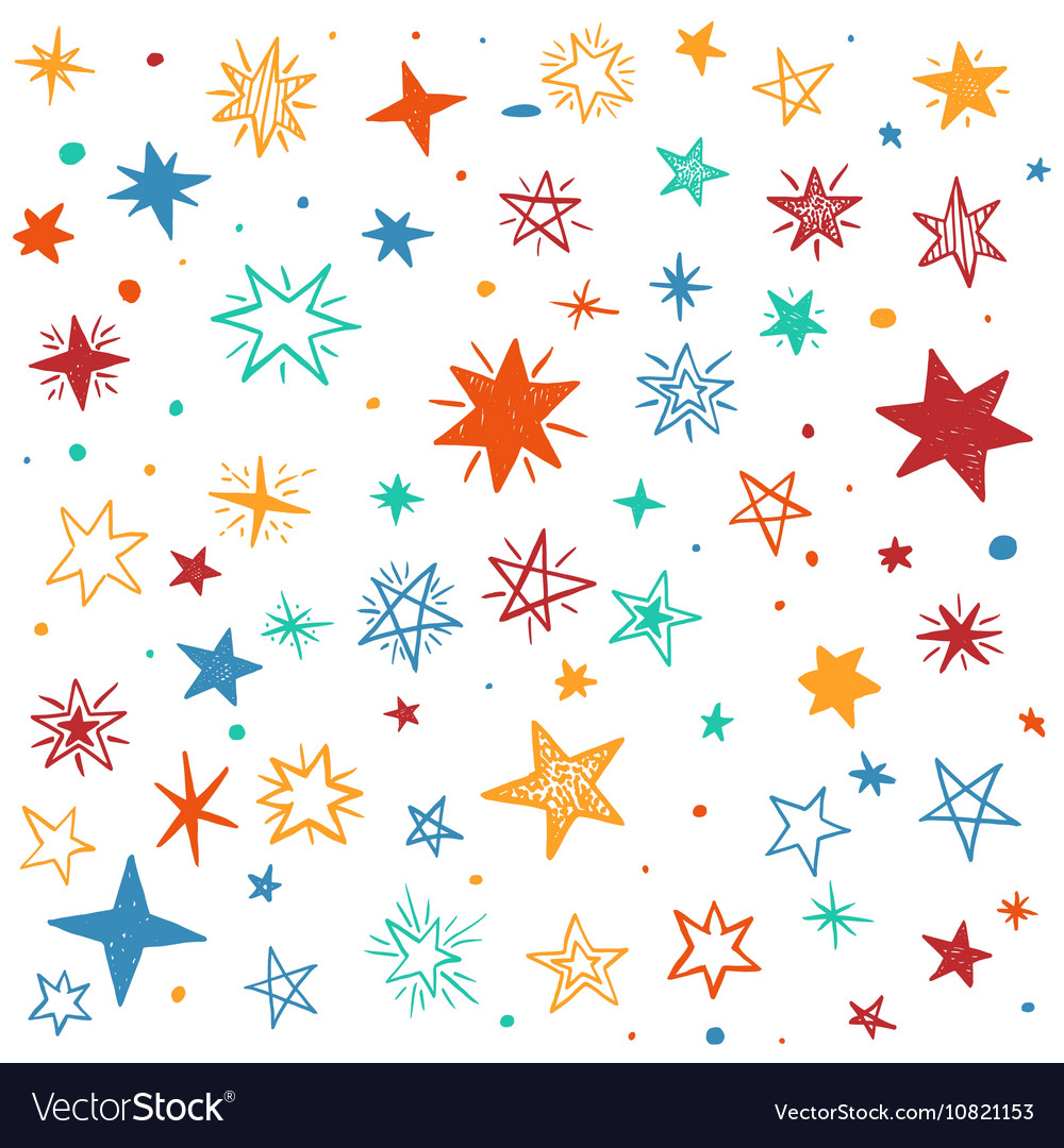 Seamless pattern with handdrawn stars vector