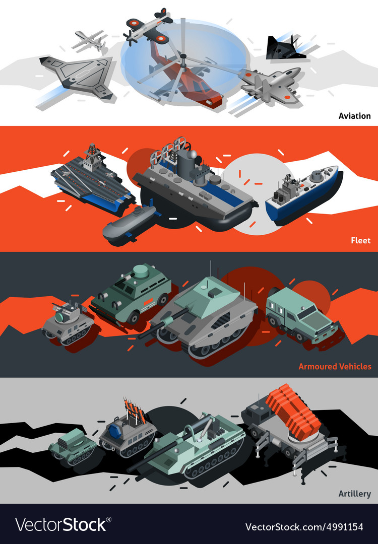Military equipment banners isometric vector