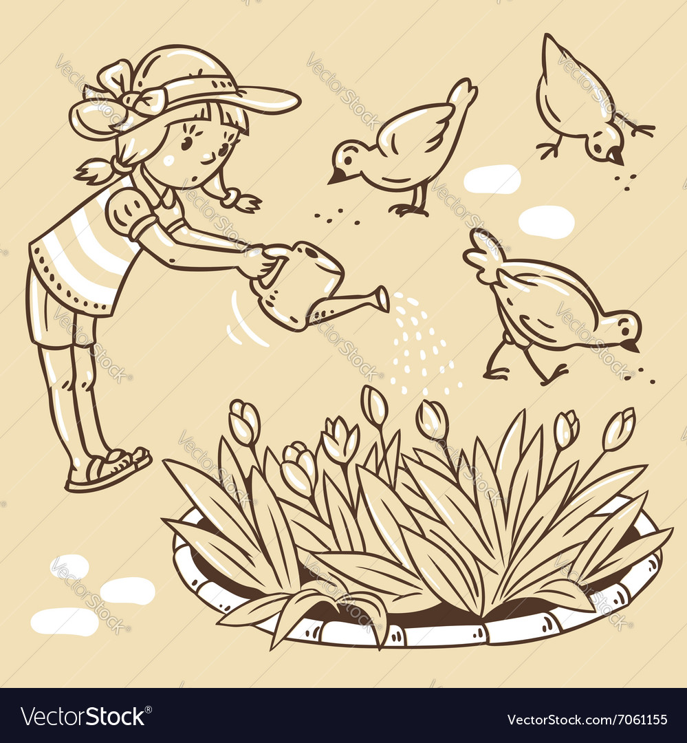 Girl watering the flowers vector
