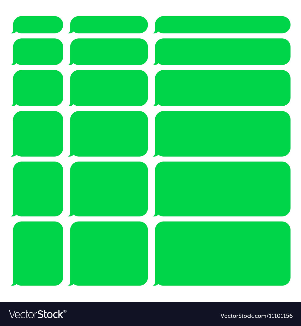 Green smartphone sms chat blank bubbles set vector