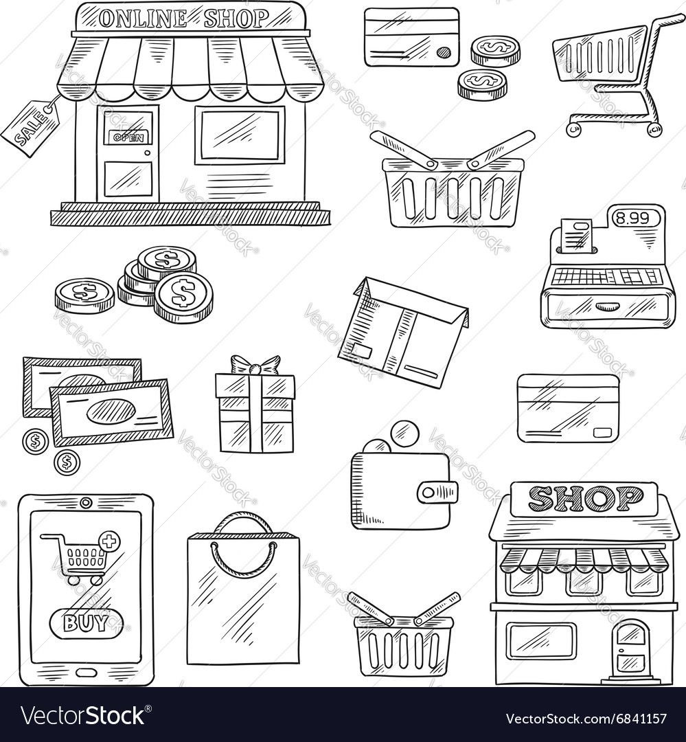 Shopping and retail icons set sketch style vector