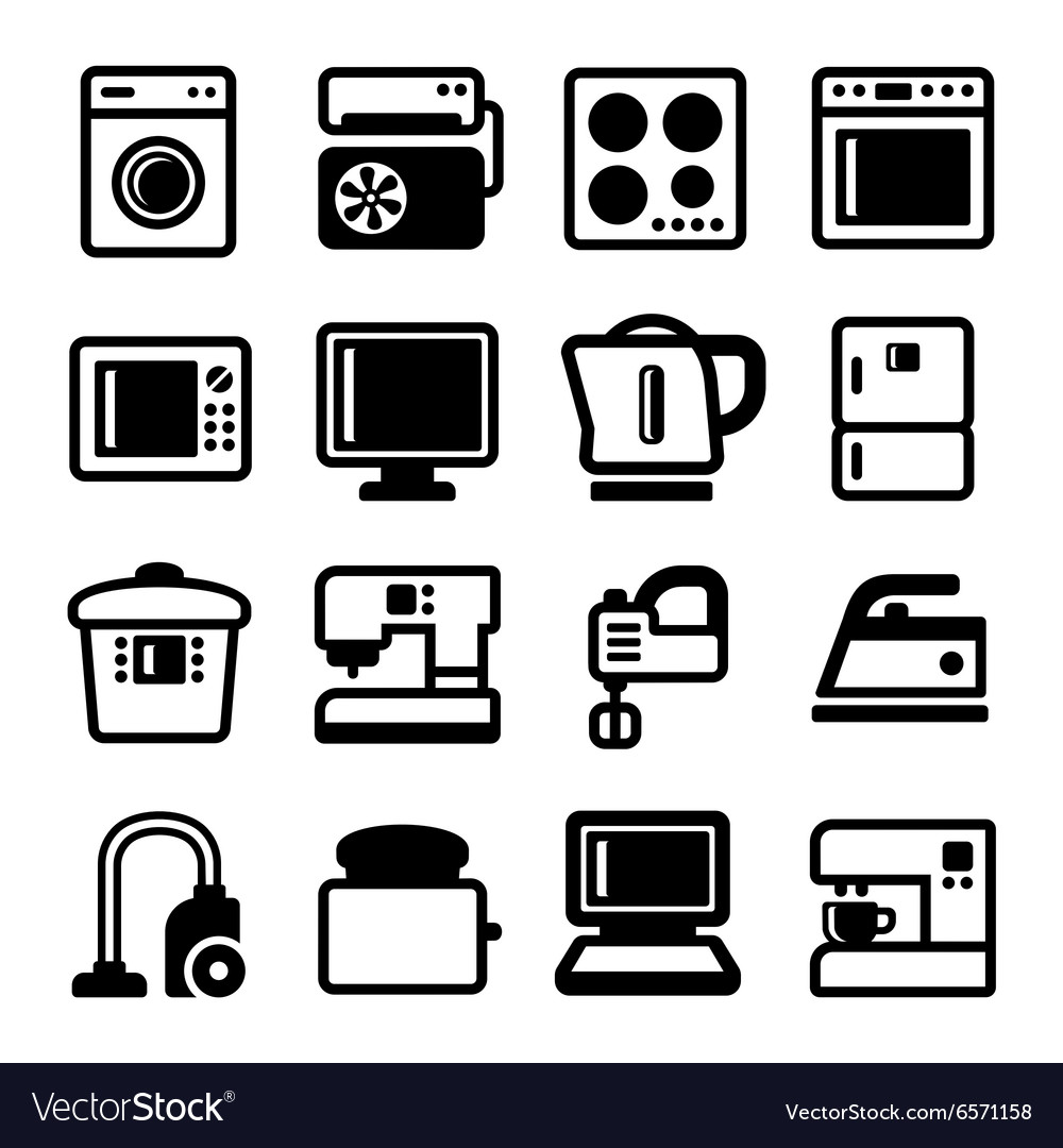 Household appliances icons set on white background vector