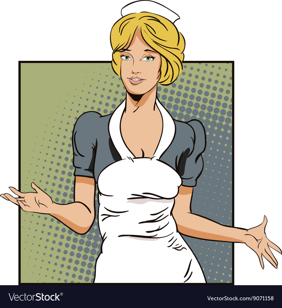 People in retro style girl cleaning service vector