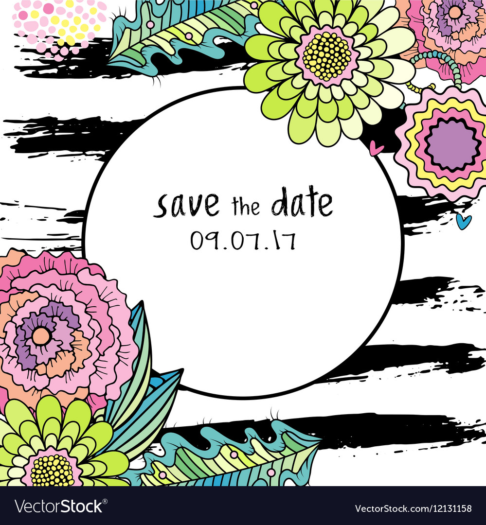 Save the date floral colorful card vector