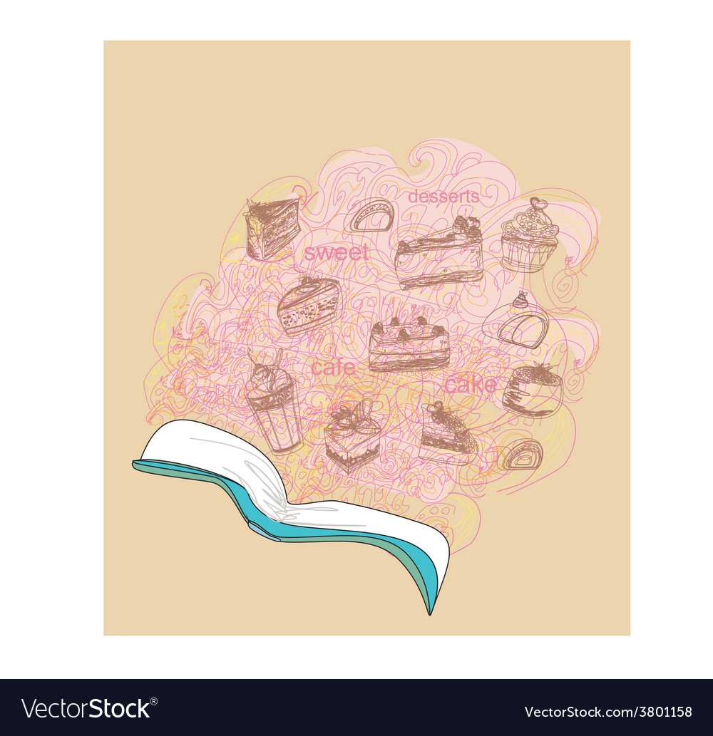 Sketchy doodle with recipe book dessert vector