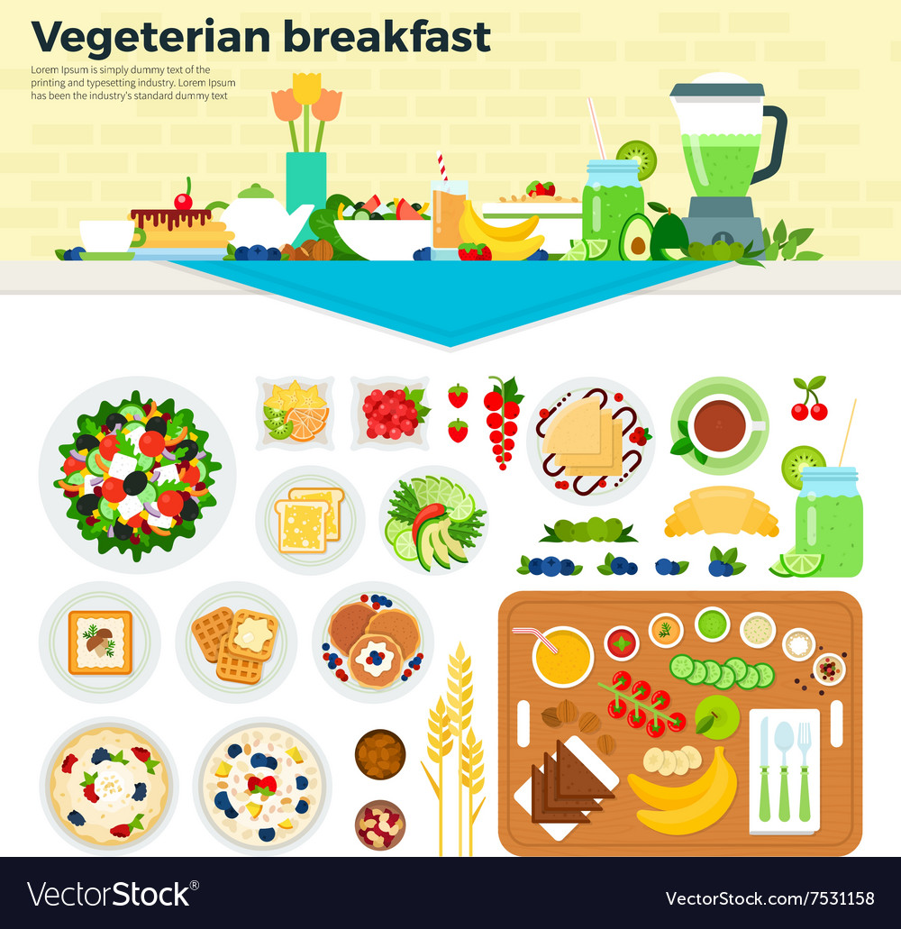 Vegetarian breakfast on the table vector