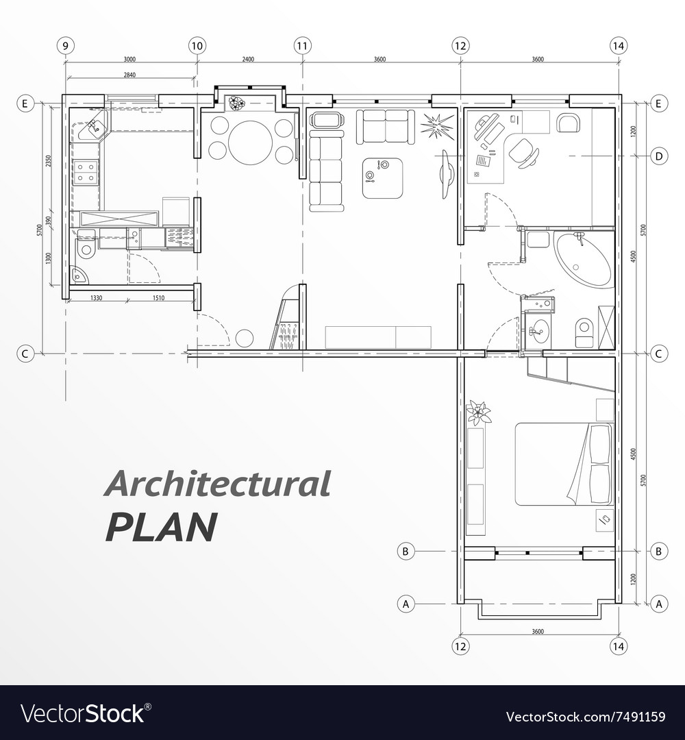 Architectural set of furniture on apartment plan vector