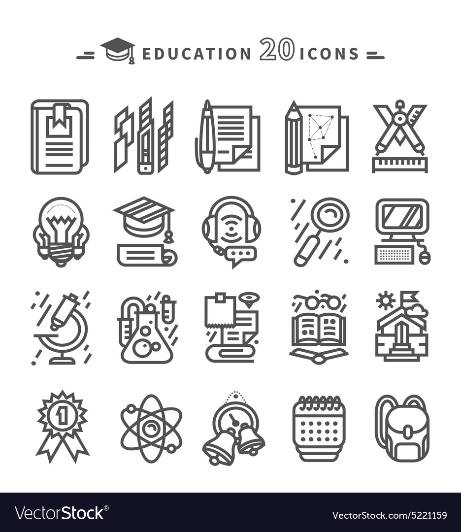 Set of black education icons on white background vector