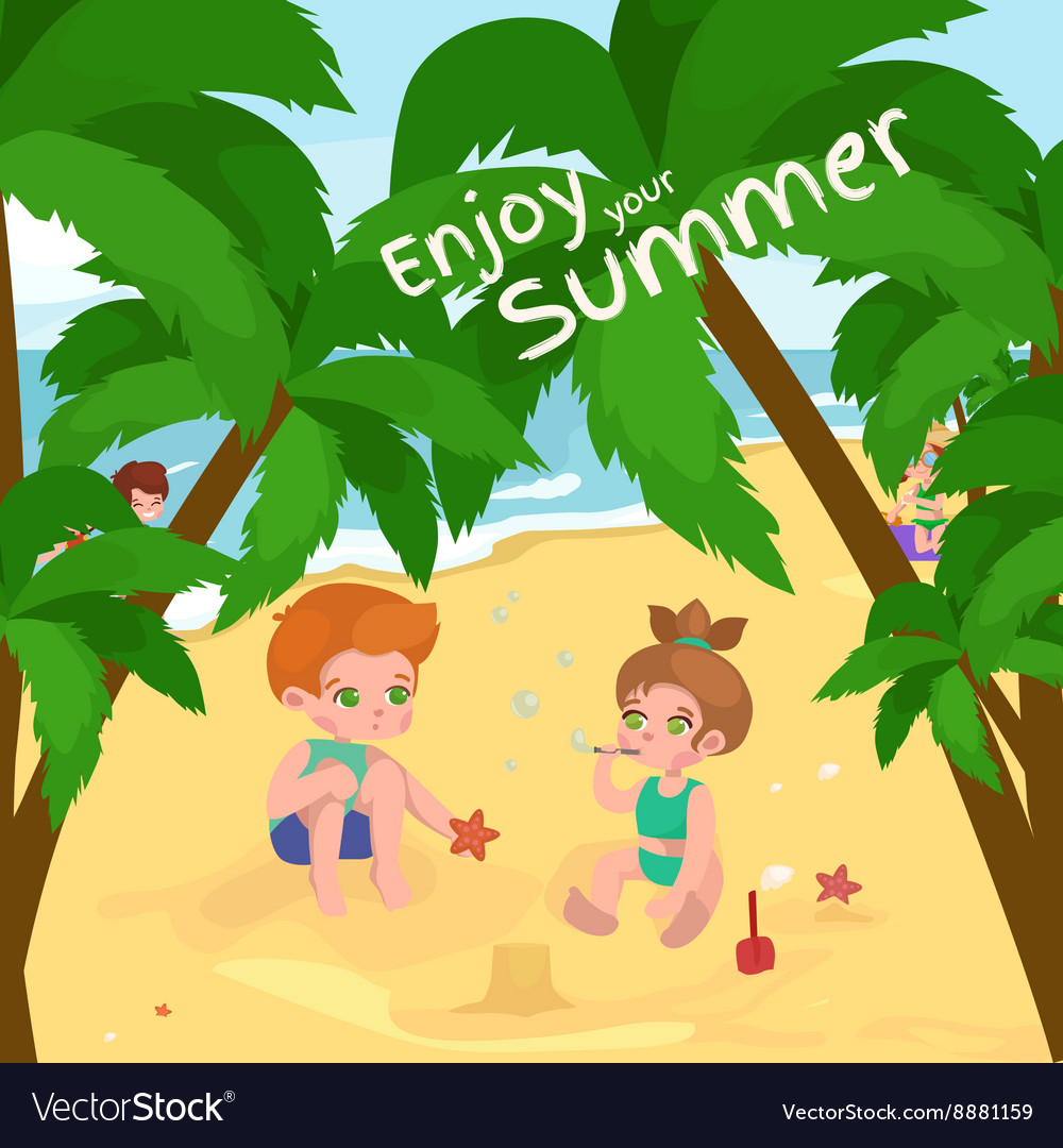 Summer children kids playing in the sand on beach vector