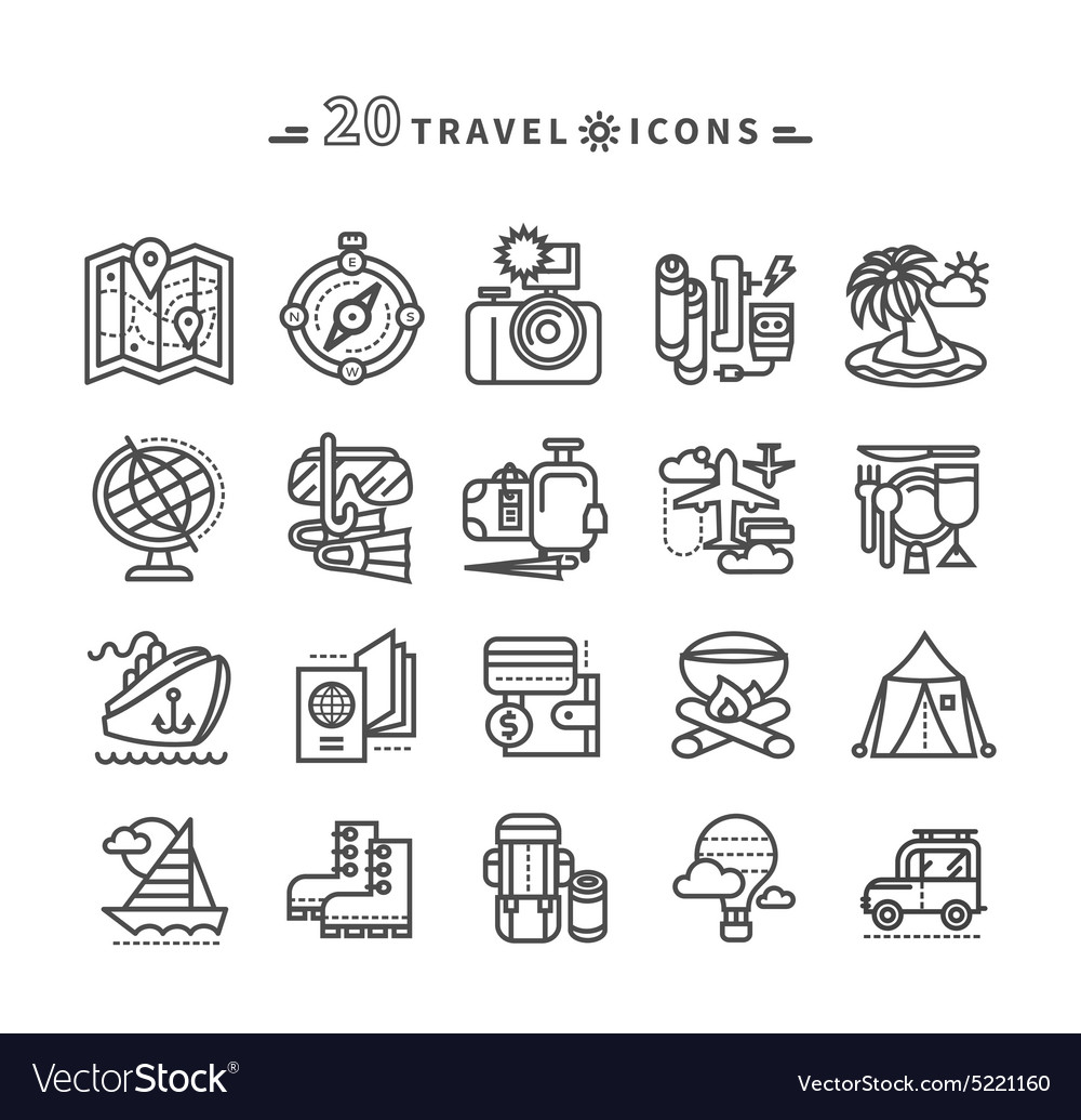 Set of black travel icons on white background vector