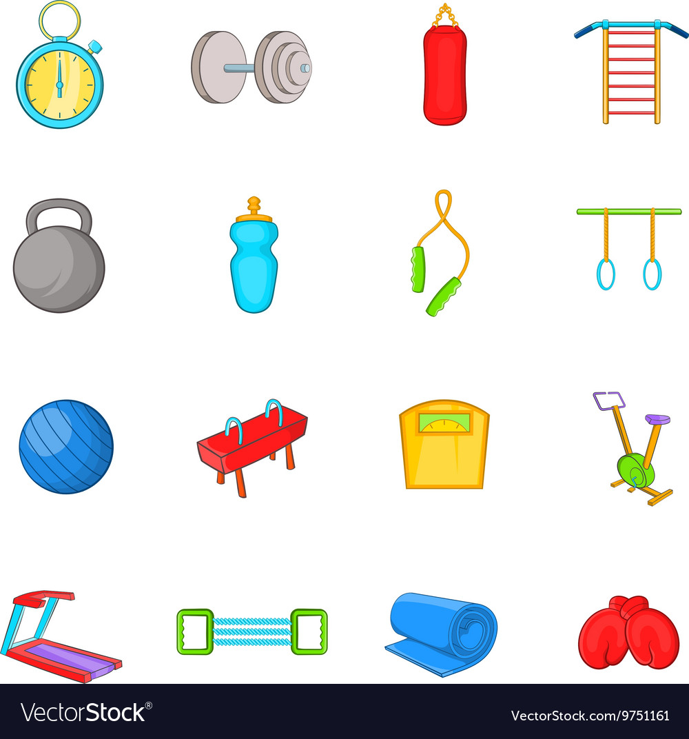 Gym icons set cartoon style vector