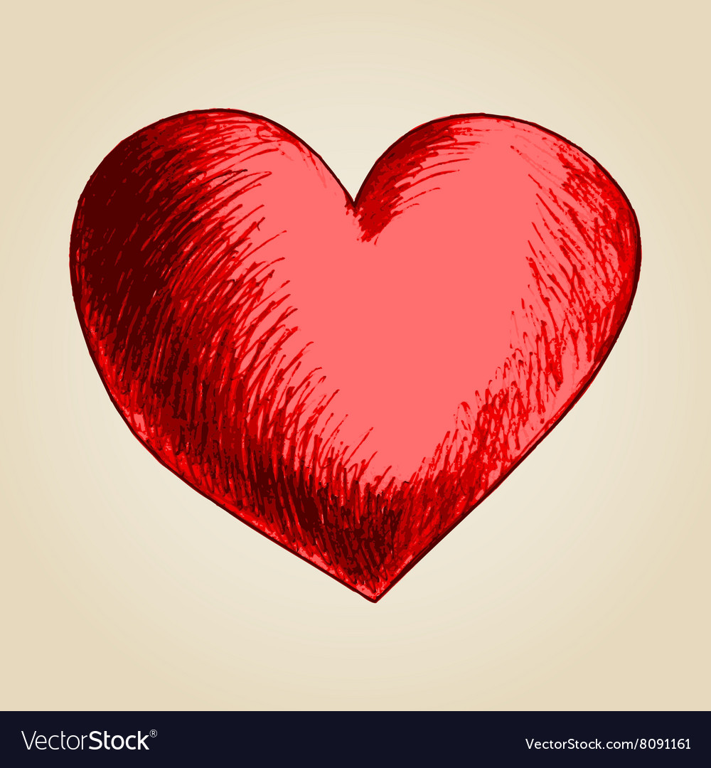 Sketch drawing of a heart symbol vector