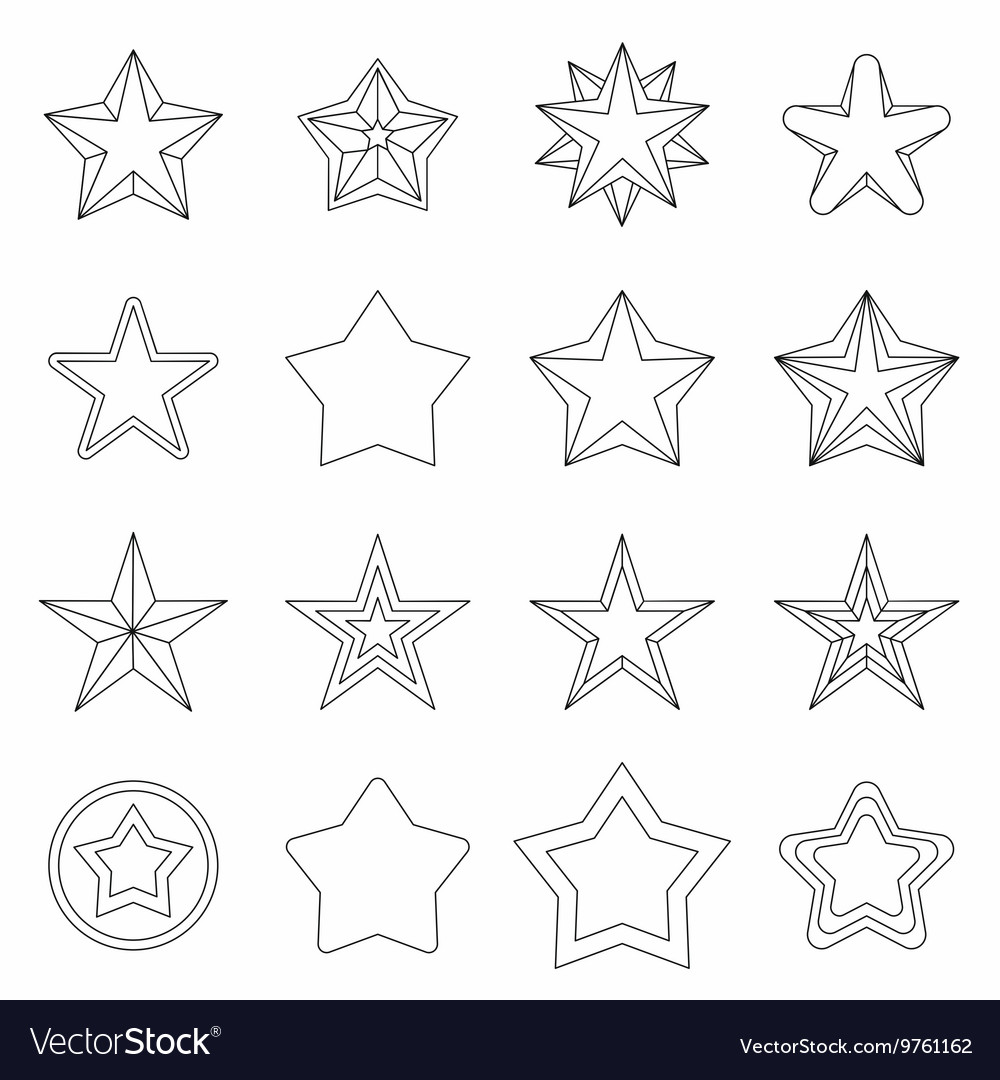 Star icons set outline ctyle vector