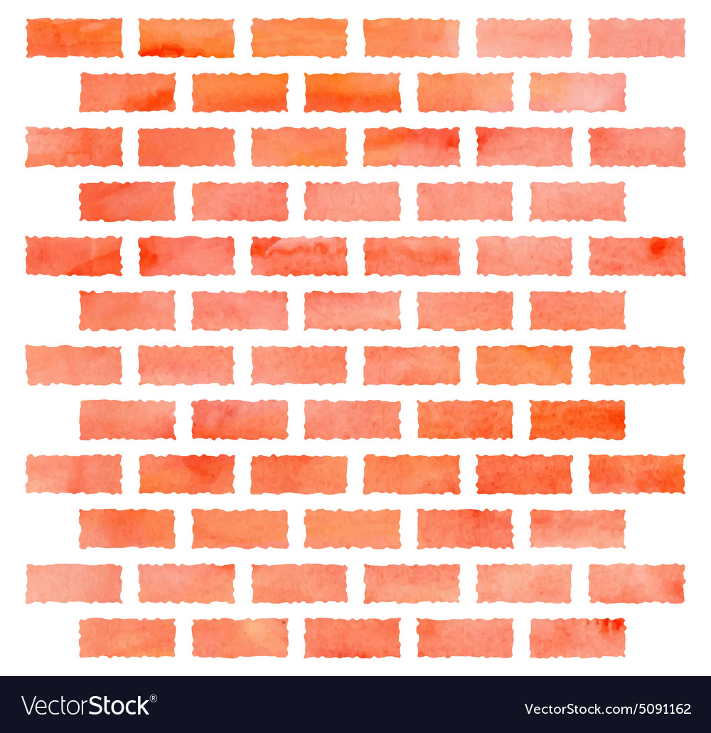Watercolor brick wall vector