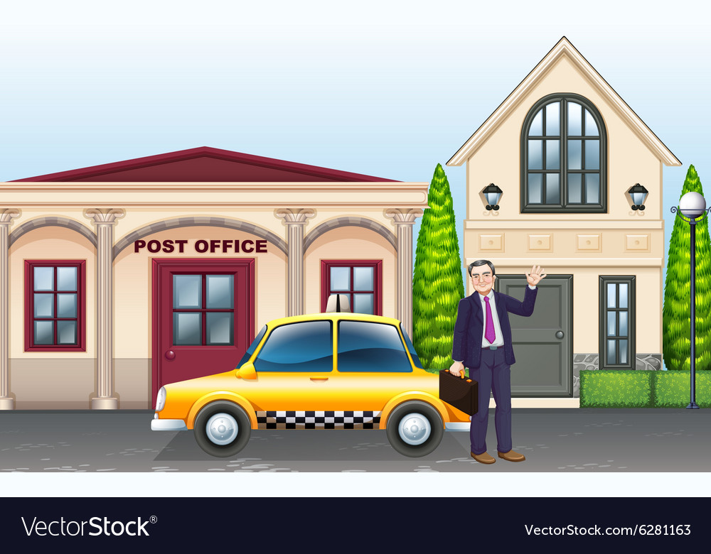 Man and taxi in front of post office vector