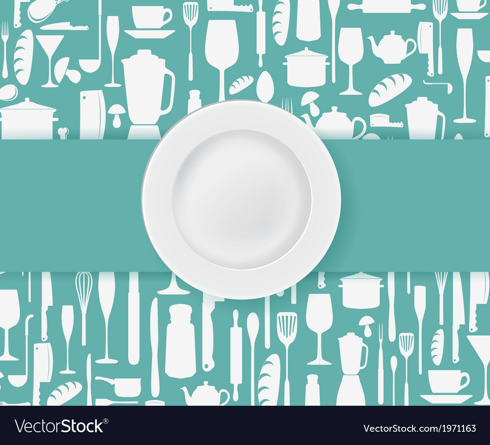 Restaurant menu design with plate vector