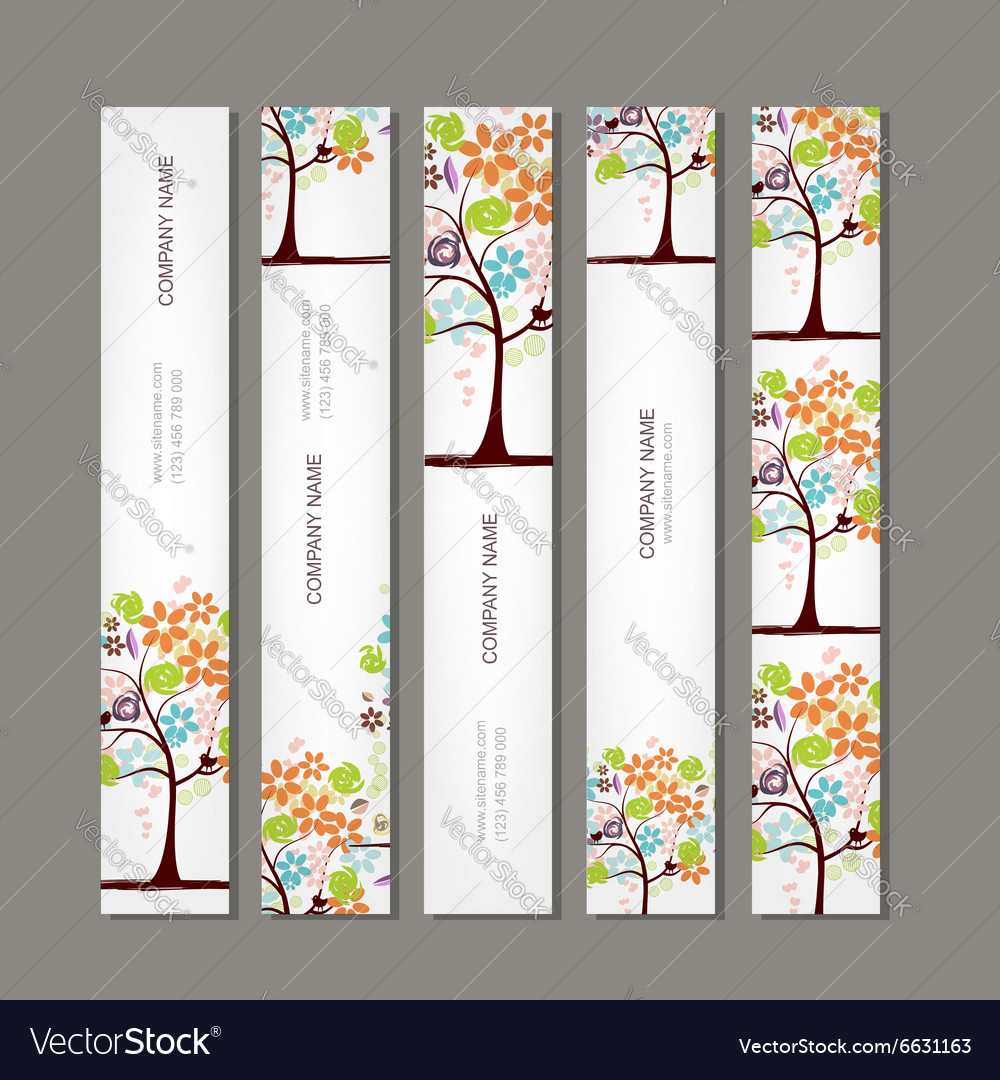 Set of vertical banners with floral tree vector