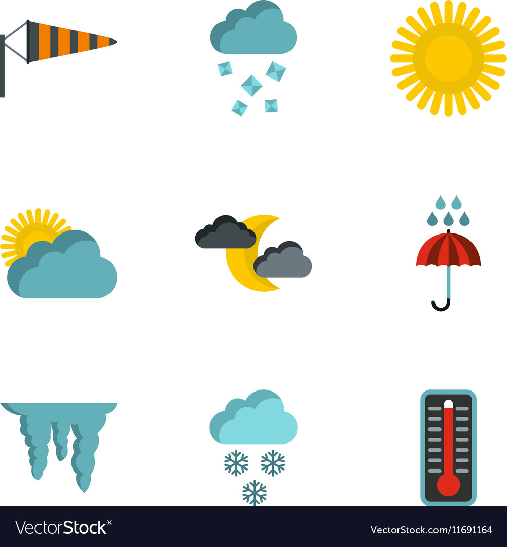 Air temperature icons set flat style vector