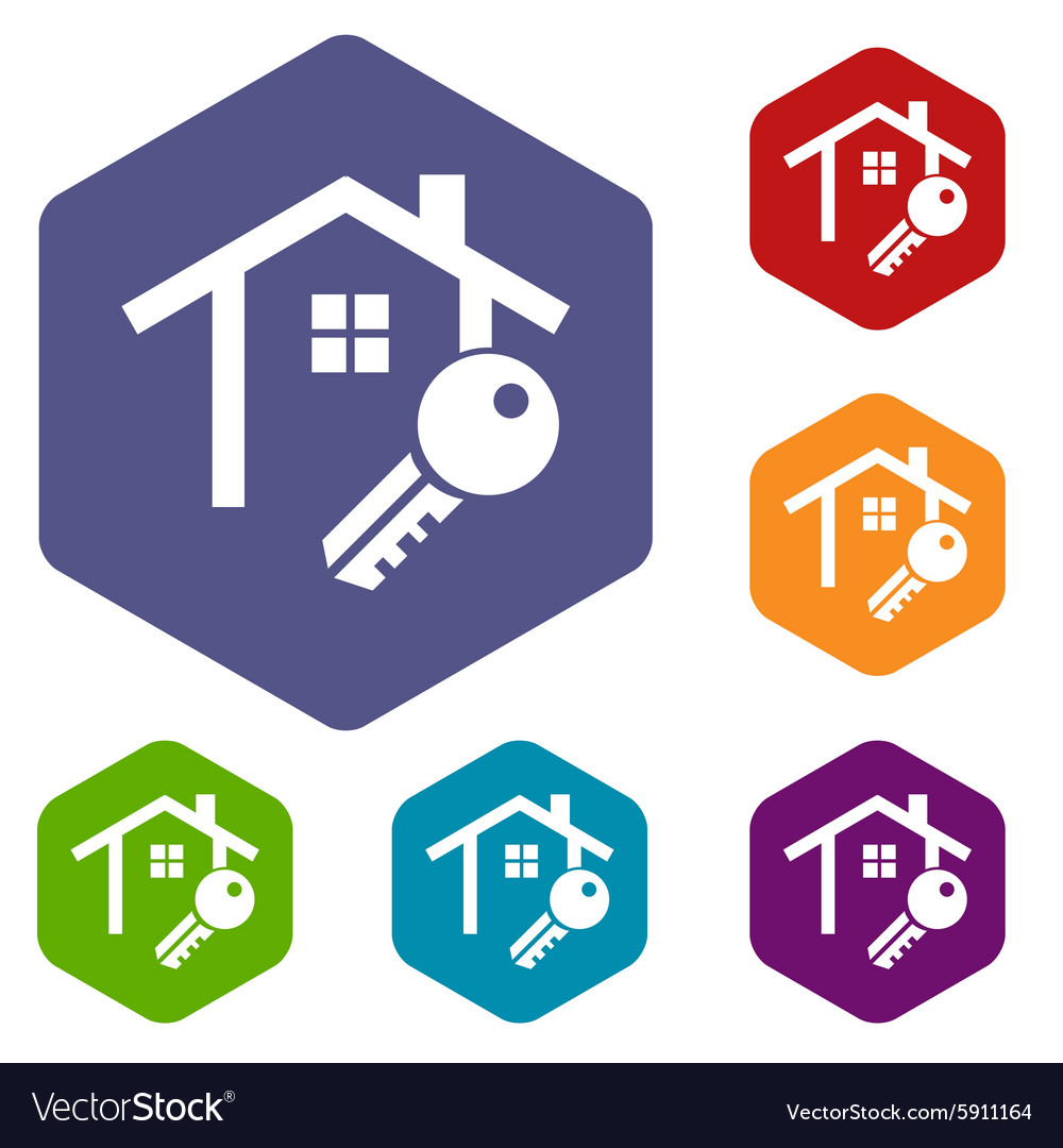 House key icon hexagon set vector