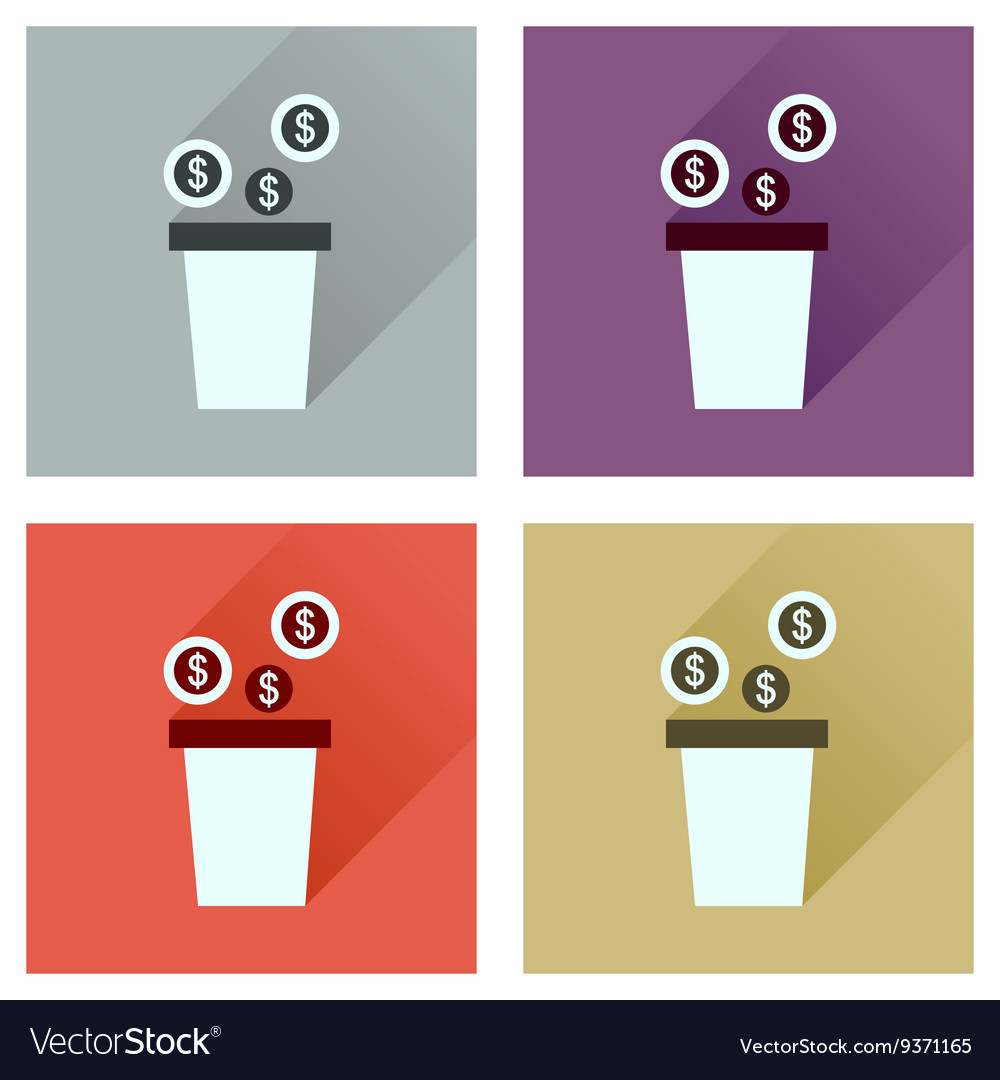 Concept of flat icons with long shadow pot of vector