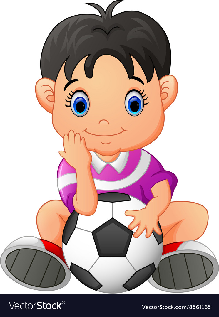 Cute boy holding a soccer ball vector