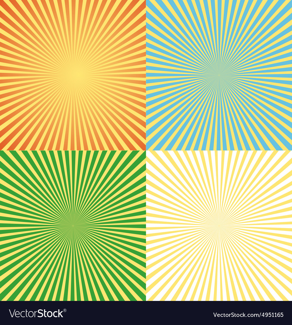 Vintage comics background set ray light vector