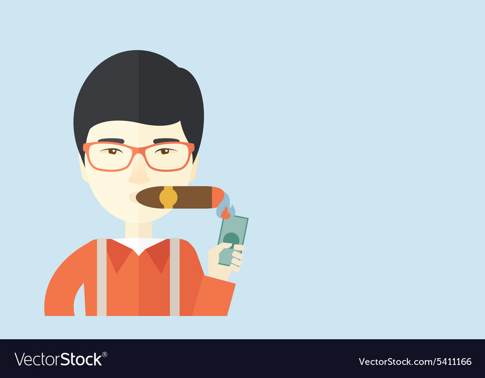 Asian businessman lighting the cigar tobacco vector