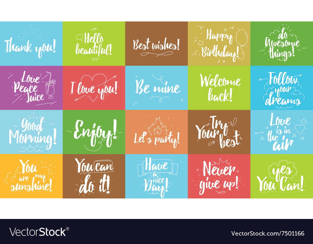 Greeting and inspirational cards set typographic vector
