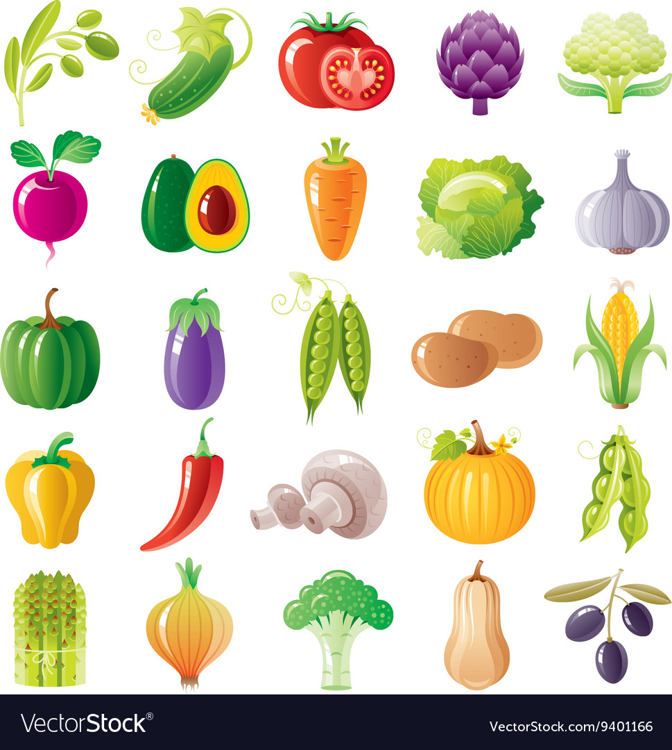 Vegetarian food icon set with organic fruits vector