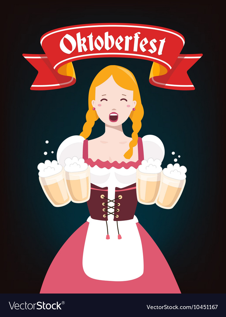 Colorful of german girl waitress in traditio vector
