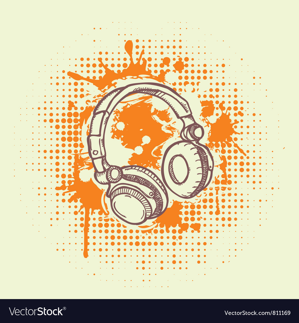 Grunge headphones vector