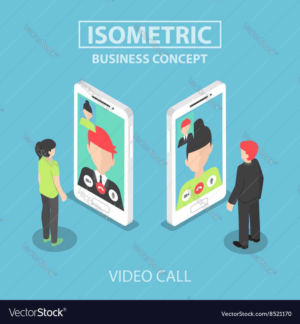 Isometric businessman make video call vector