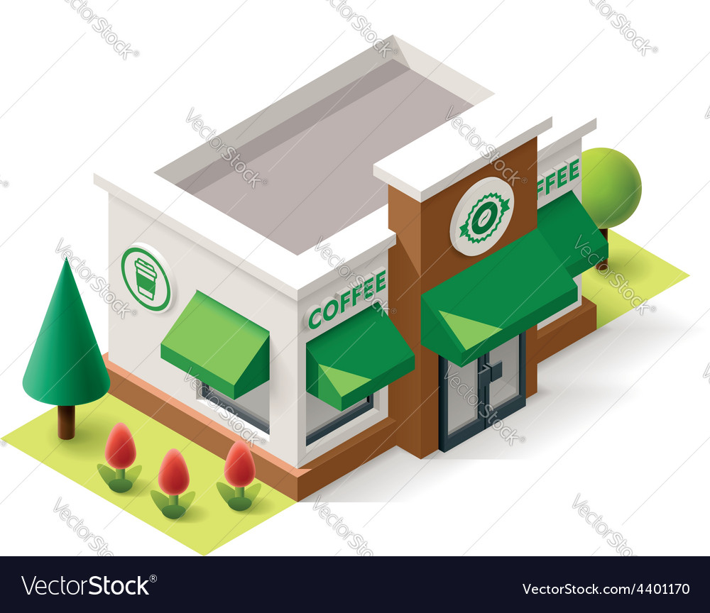 Isometric coffee shop vector