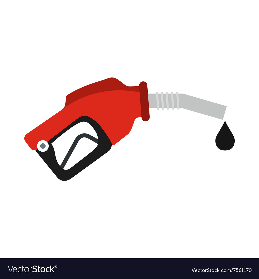 Red gas station gun flat icon vector