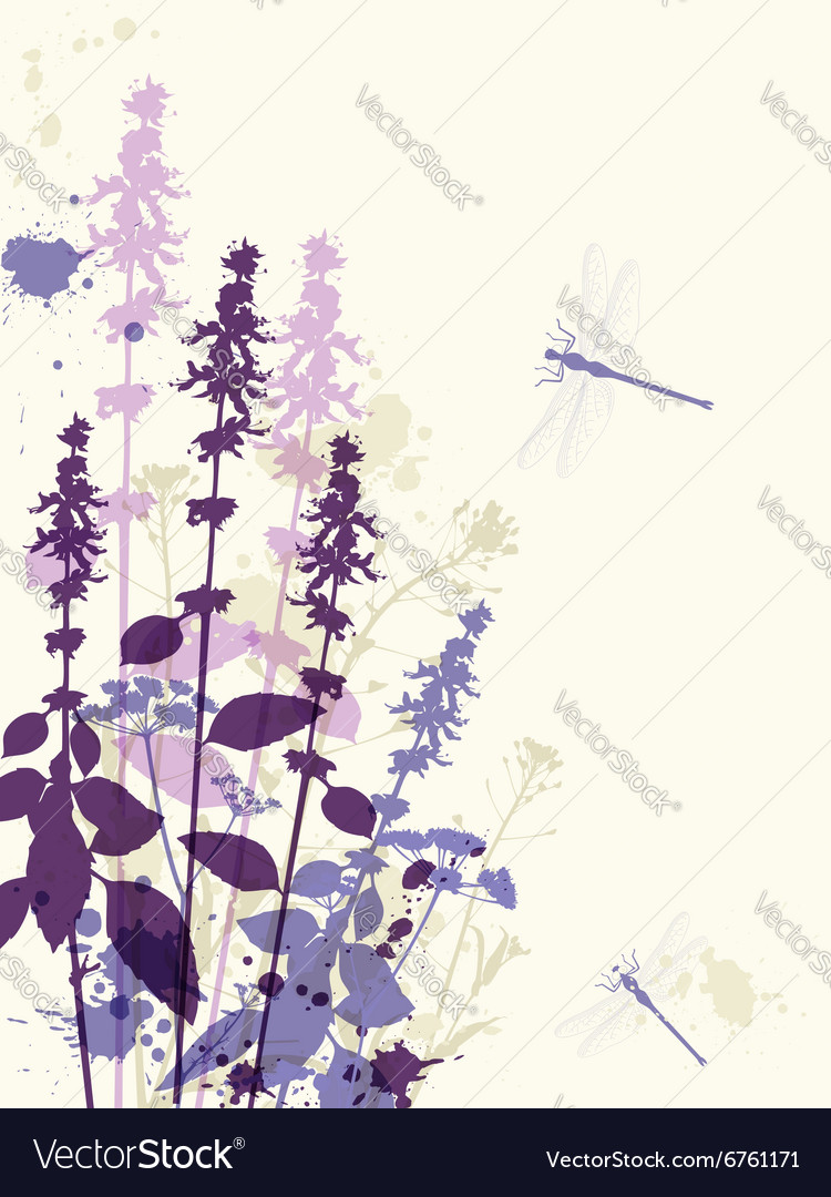 Abstract floral background with violet flowers vector