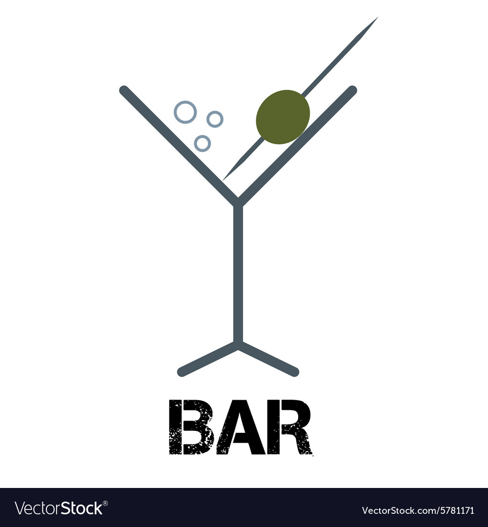 Martini cocktail bar logo linear style glass with vector