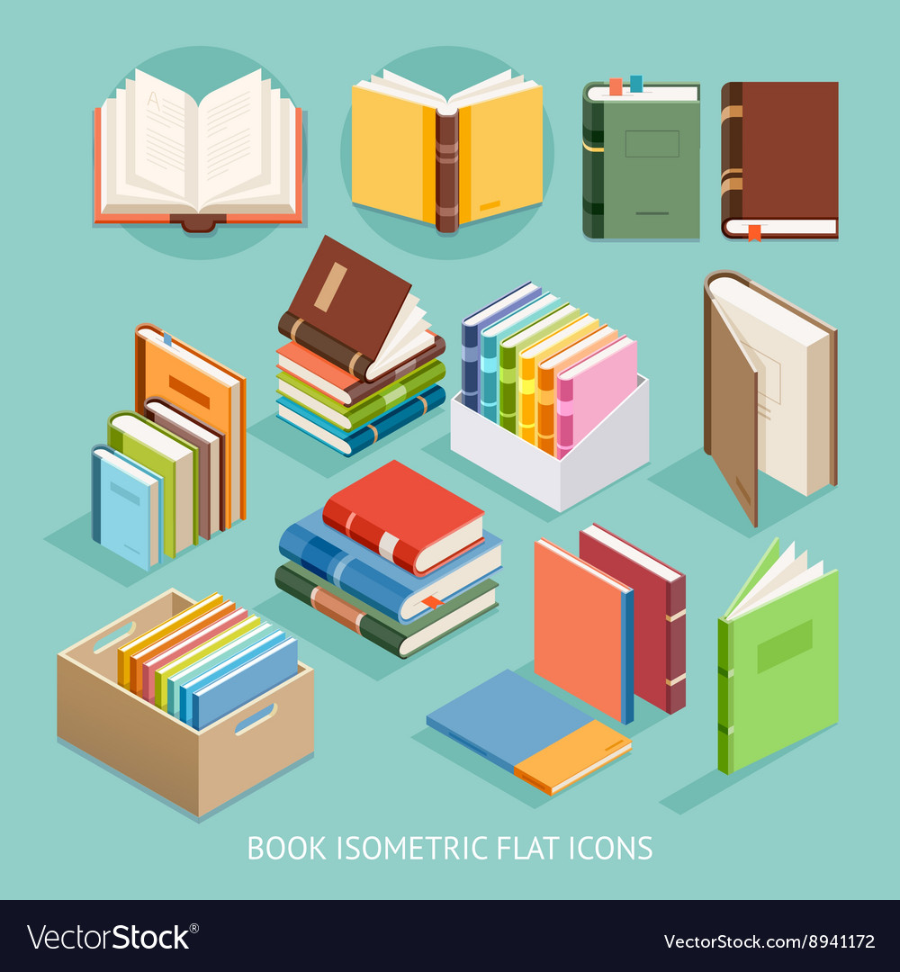 Book isometric flat icons set vector