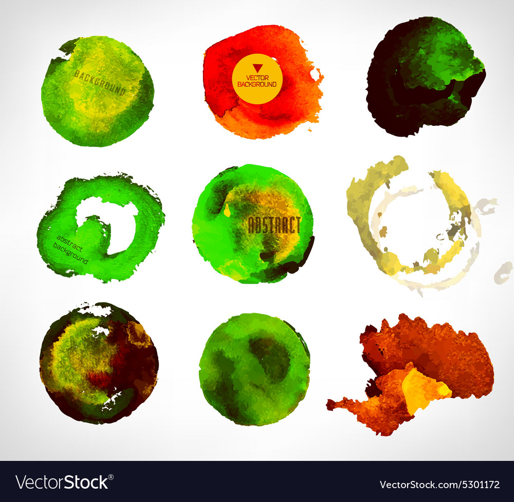 Set of watercolor label bubble vector